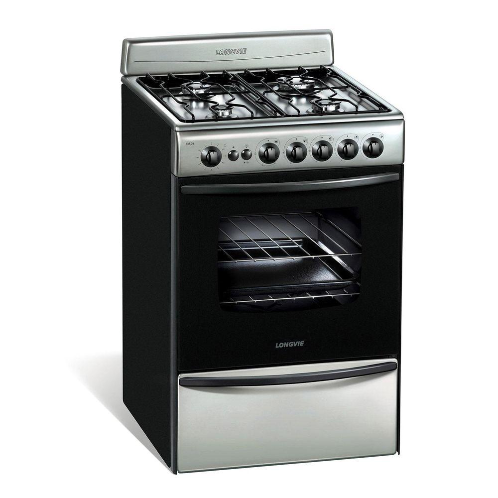 Cocina longvie 13501xf multigas 56cm acero inox brukman for Ofertas cocinas a gas